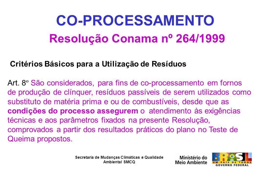 Secretaria de Mudanças Climáticas e Qualidade Ambiental SMCQ CO-PROCESSAMENTO Resolução Conama nº 264/1999 Critérios Básicos para a Utilização de Resí