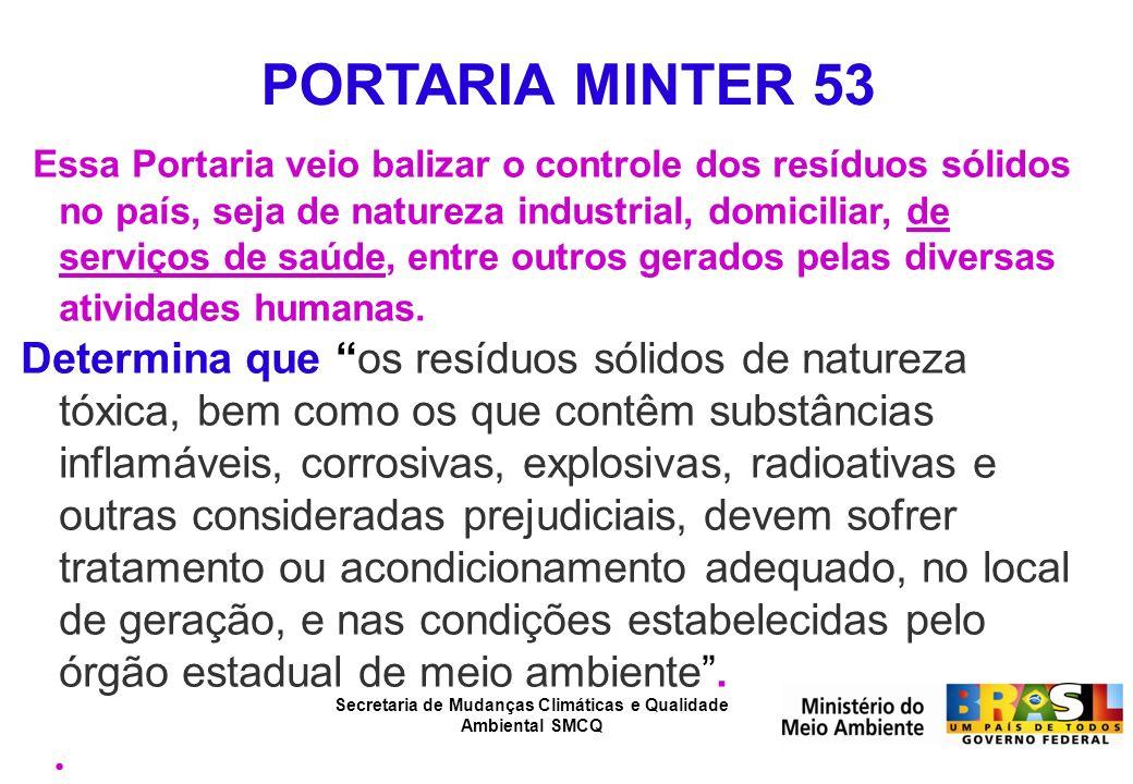 Secretaria de Mudanças Climáticas e Qualidade Ambiental SMCQ PORTARIA MINTER 53 Essa Portaria veio balizar o controle dos resíduos sólidos no país, se