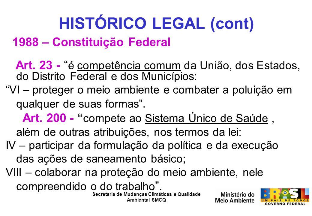 Secretaria de Mudanças Climáticas e Qualidade Ambiental SMCQ HISTÓRICO LEGAL (cont) 1988 – Constituição Federal Art. 23 - é competência comum da União
