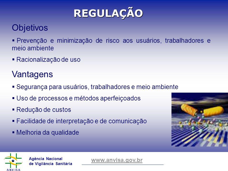 Agência Nacional de Vigilância Sanitária www.anvisa.gov.br Objetivos Prevenção e minimização de risco aos usuários, trabalhadores e meio ambiente Raci