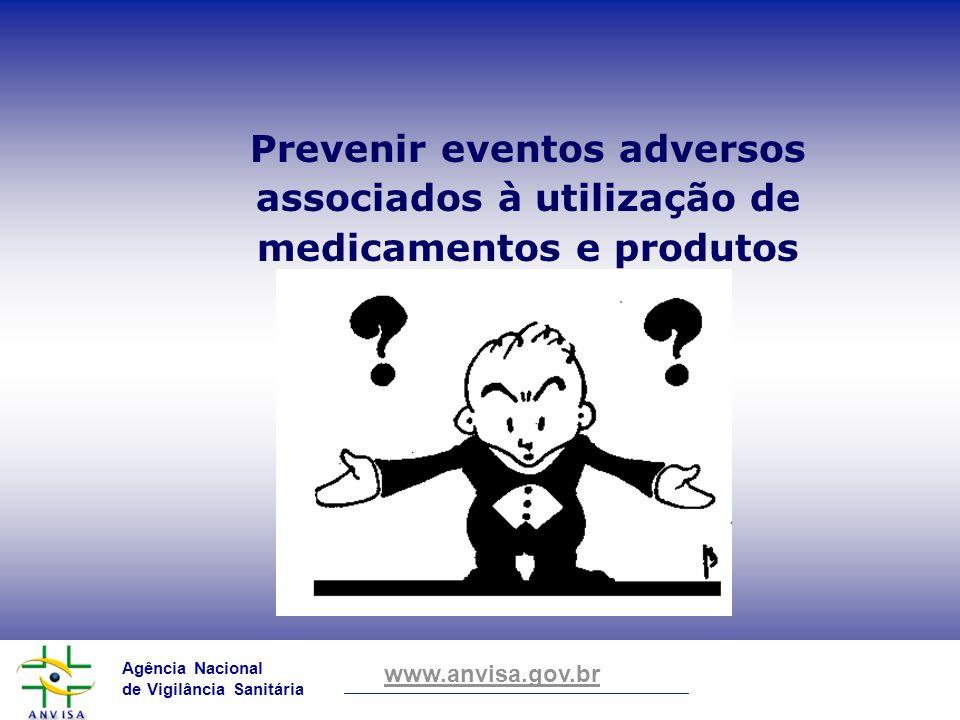 Agência Nacional de Vigilância Sanitária www.anvisa.gov.br Prevenir eventos adversos associados à utilização de medicamentos e produtos