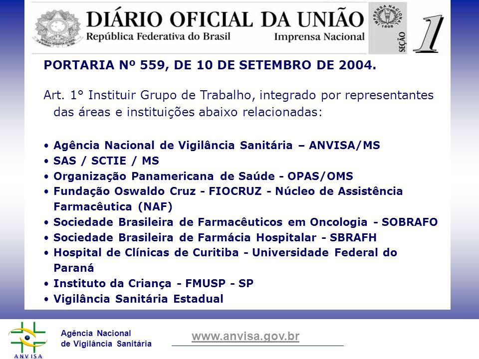 Agência Nacional de Vigilância Sanitária www.anvisa.gov.br PORTARIA Nº 559, DE 10 DE SETEMBRO DE 2004. Art. 1° Instituir Grupo de Trabalho, integrado