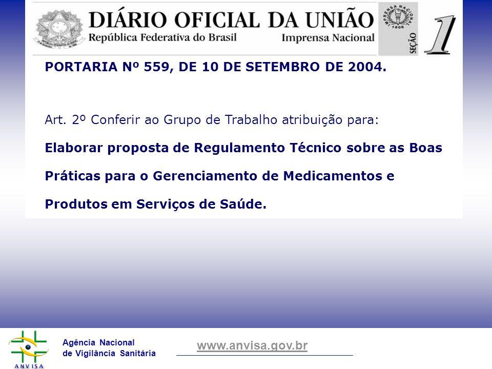 Agência Nacional de Vigilância Sanitária www.anvisa.gov.br PORTARIA Nº 559, DE 10 DE SETEMBRO DE 2004. Art. 2º Conferir ao Grupo de Trabalho atribuiçã