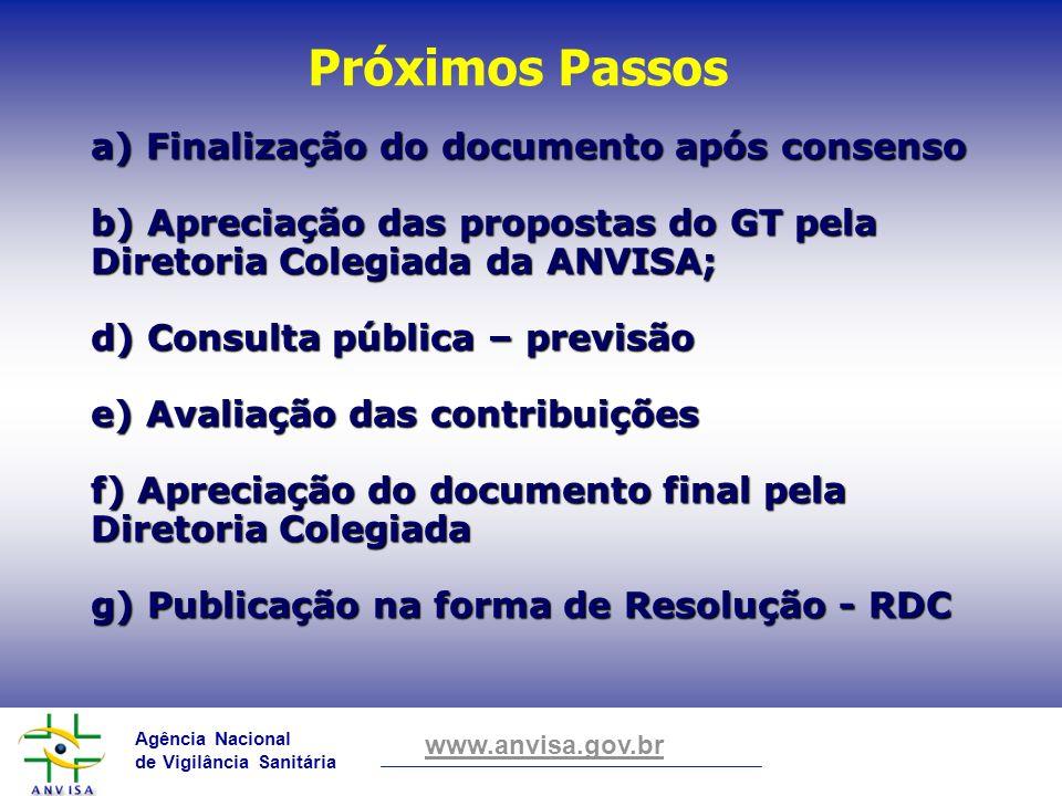 Agência Nacional de Vigilância Sanitária www.anvisa.gov.br a) Finalização do documento após consenso b) Apreciação das propostas do GT pela Diretoria