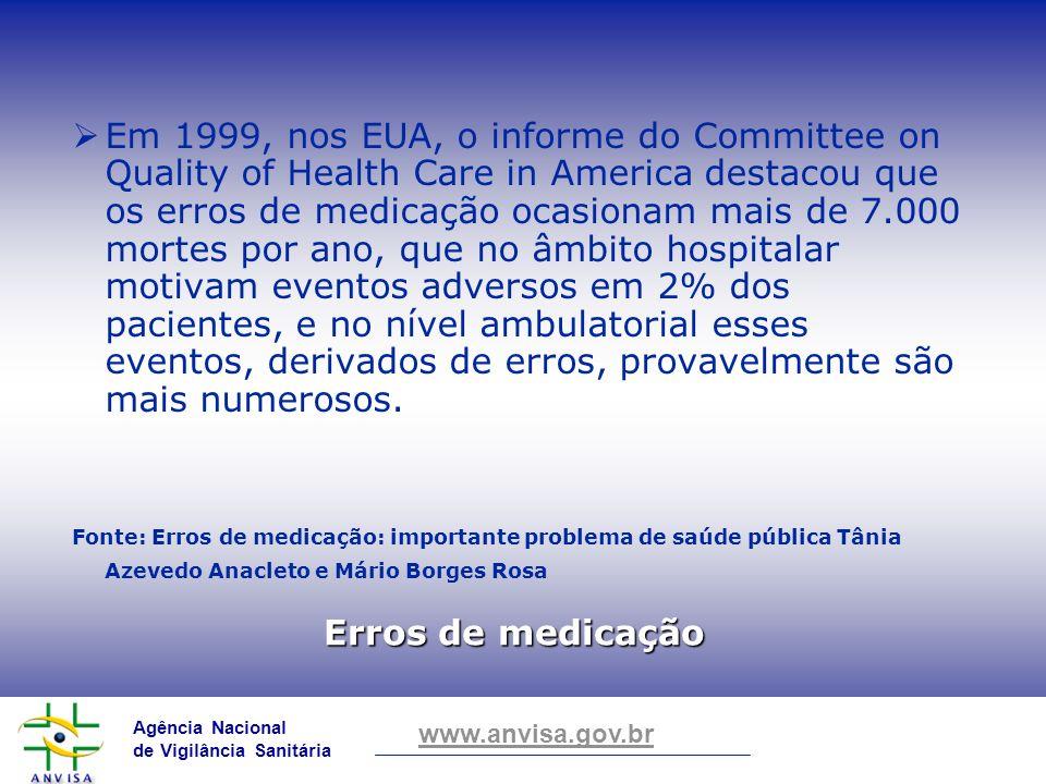 Agência Nacional de Vigilância Sanitária www.anvisa.gov.br Erros de medicação Em 1999, nos EUA, o informe do Committee on Quality of Health Care in Am