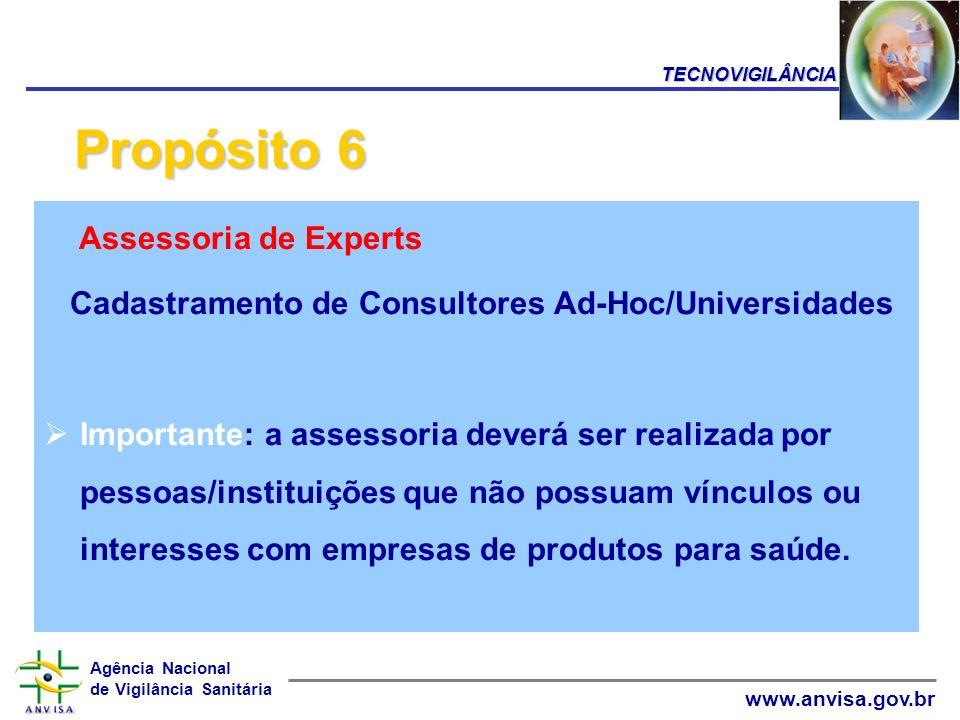 Agência Nacional de Vigilância Sanitária www.anvisa.gov.br Assessoria de Experts Cadastramento de Consultores Ad-Hoc/Universidades Importante: a asses
