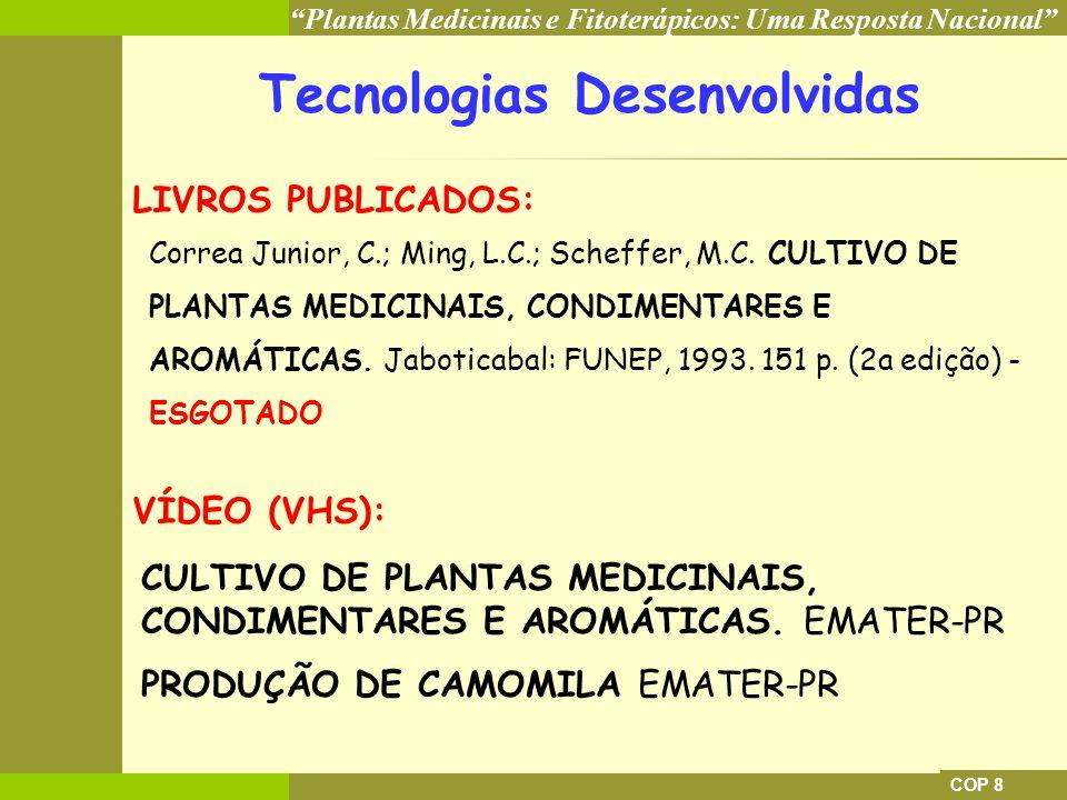 Plantas Medicinais e Fitoterápicos: Uma Resposta Nacional COP 8 Tecnologias Desenvolvidas LIVROS PUBLICADOS: Correa Junior, C.; Ming, L.C.; Scheffer,