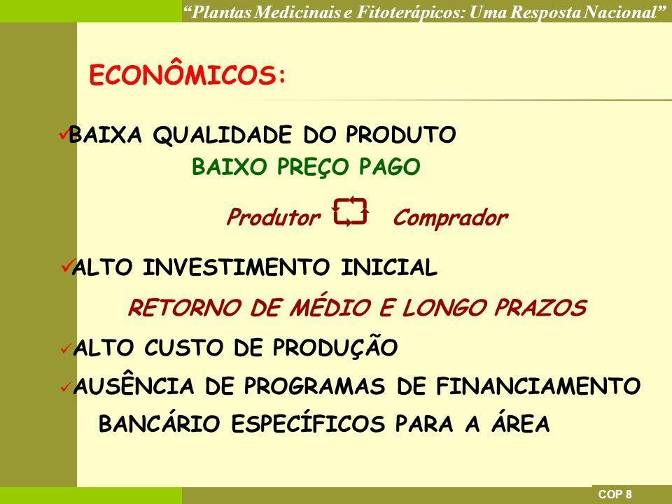 Plantas Medicinais e Fitoterápicos: Uma Resposta Nacional COP 8 SOCIAIS: REQUER GRANDE QUANTIDADE DE MÃO DE OBRA 1 TRABALHADOR FIXO E ATÉ 3 SAZONAIS/HA CARACTERÍSTICAS DE AGRICULTURA FAMILIAR BAIXO NÍVEL DE ORGANIZAÇÃO: DOS PRODUTORES DA PRODUÇÃO DA COMERCIALIZAÇÃO A ATIVIDADE EXIGE UMA BOA FORMAÇÃO CULTURAL e NÍVEL DE ESCOLARIDADE