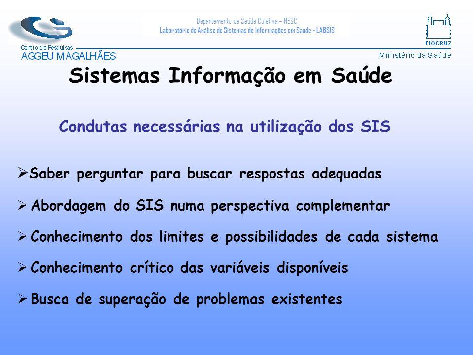 Departamento de Saúde Coletiva – NESC Laboratório de Análise de Sistemas de Informações em Saúde - LABSIS Condutas necessárias na utilização dos SIS S