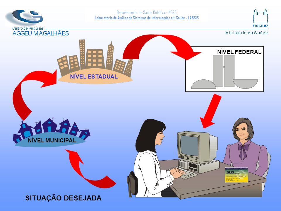 Departamento de Saúde Coletiva – NESC Laboratório de Análise de Sistemas de Informações em Saúde - LABSIS NÍVEL FEDERAL NÍVEL ESTADUAL NÍVEL MUNICIPAL