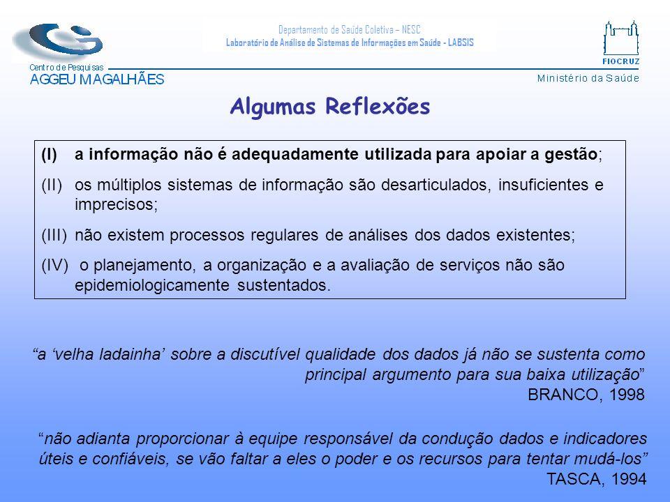 Departamento de Saúde Coletiva – NESC Laboratório de Análise de Sistemas de Informações em Saúde - LABSIS (I)a informação não é adequadamente utilizad