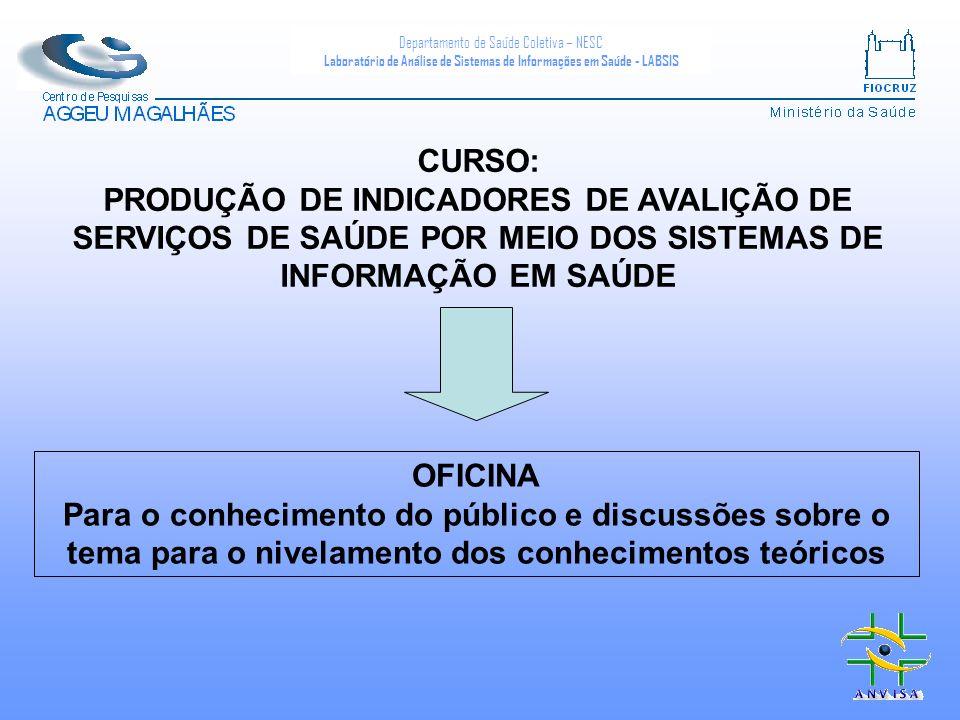 Departamento de Saúde Coletiva – NESC Laboratório de Análise de Sistemas de Informações em Saúde - LABSIS CURSO: PRODUÇÃO DE INDICADORES DE AVALIÇÃO D