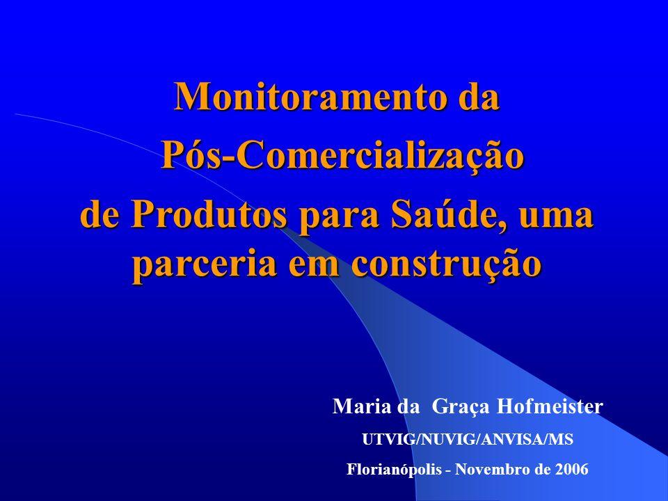 Maria da Graça Hofmeister UTVIG/NUVIG/ANVISA/MS Florianópolis - Novembro de 2006 Monitoramento da Pós-Comercialização Pós-Comercialização de Produtos