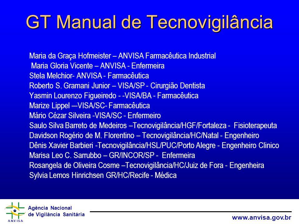 Agência Nacional de Vigilância Sanitária www.anvisa.gov.br GT Manual de Tecnovigilância Maria da Graça Hofmeister – ANVISA Farmacêutica Industrial Mar