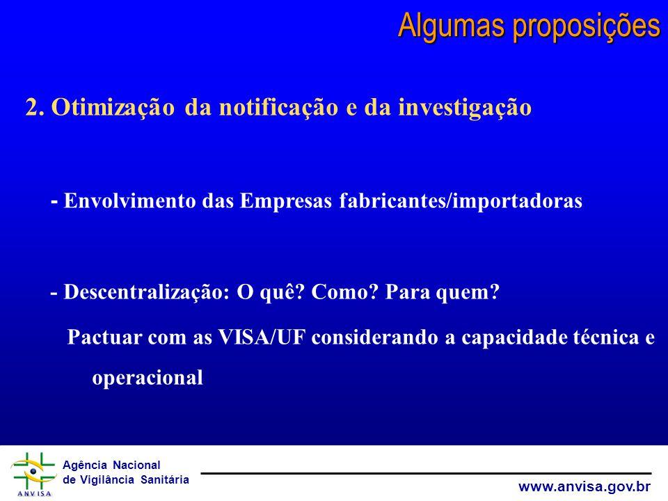 Agência Nacional de Vigilância Sanitária www.anvisa.gov.br 2. Otimização da notificação e da investigação - Envolvimento das Empresas fabricantes/impo