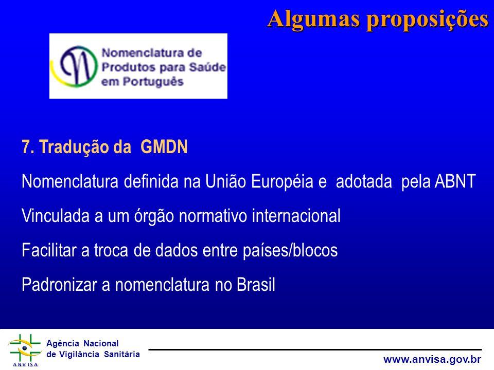 Agência Nacional de Vigilância Sanitária www.anvisa.gov.br 7. Tradução da GMDN Nomenclatura definida na União Européia e adotada pela ABNT Vinculada a