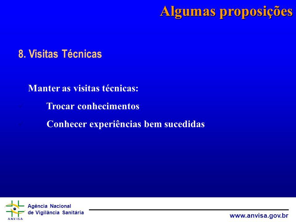 Agência Nacional de Vigilância Sanitária www.anvisa.gov.br Algumas proposições Manter as visitas técnicas: Trocar conhecimentos Conhecer experiências
