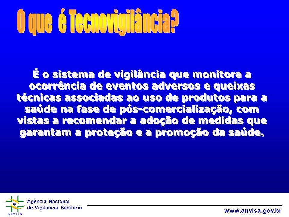 Agência Nacional de Vigilância Sanitária www.anvisa.gov.br. É o sistema de vigilância que monitora a ocorrência de eventos adversos e queixas técnicas