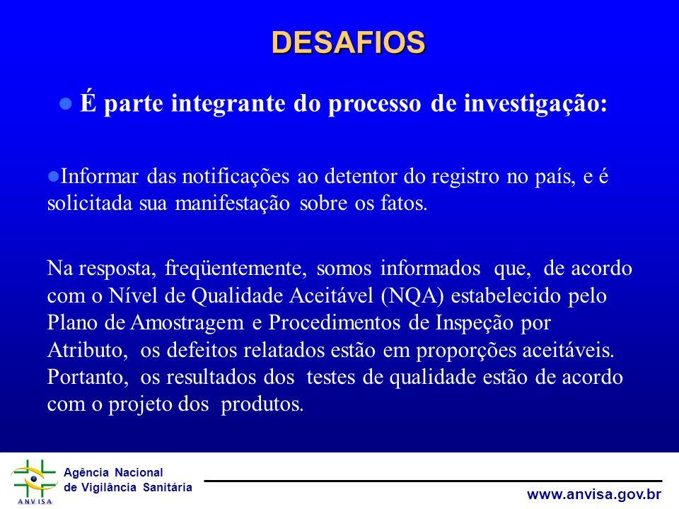 Agência Nacional de Vigilância Sanitária www.anvisa.gov.br DESAFIOS DESAFIOS Informar das notificações ao detentor do registro no país, e é solicitada