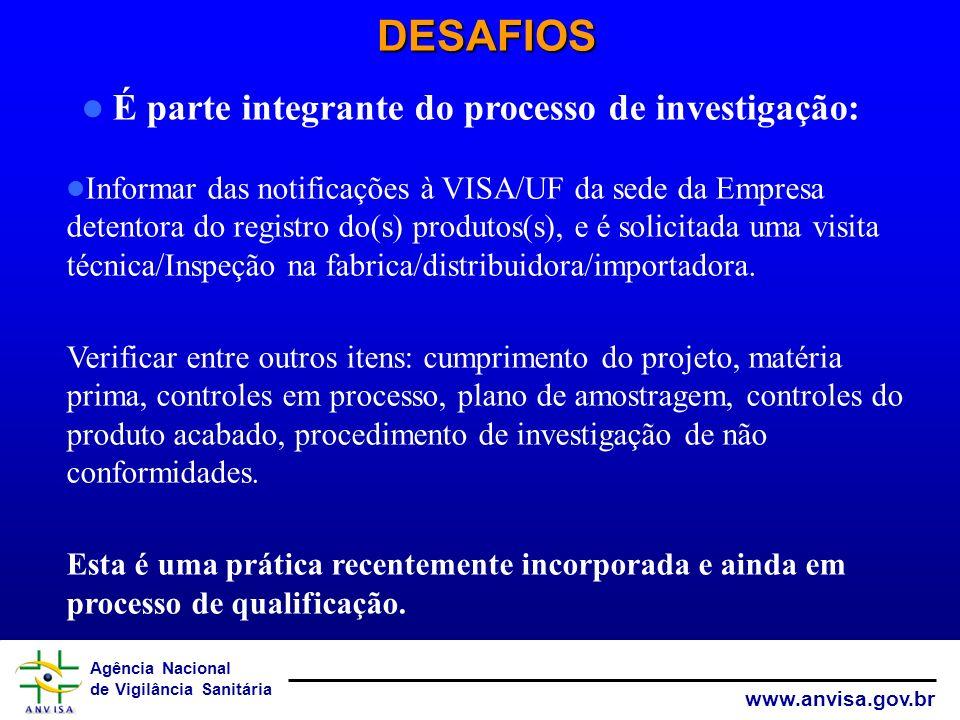 Agência Nacional de Vigilância Sanitária www.anvisa.gov.br DESAFIOS Informar das notificações à VISA/UF da sede da Empresa detentora do registro do(s)