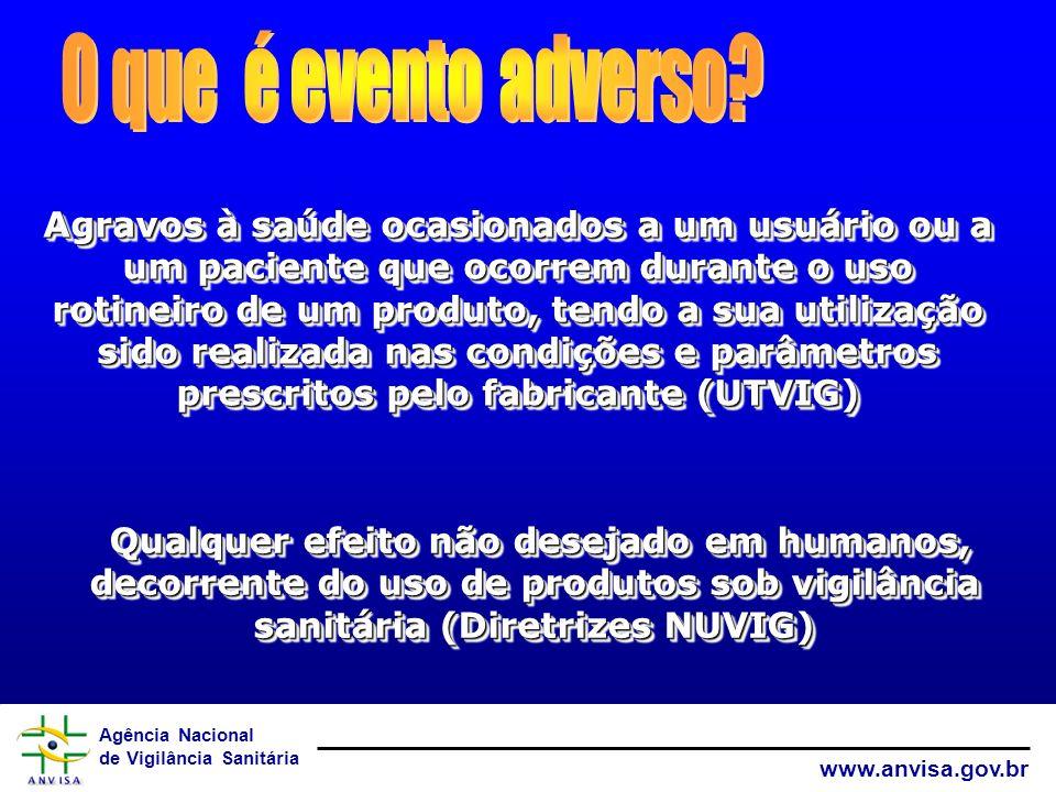 Agência Nacional de Vigilância Sanitária www.anvisa.gov.br Agravos à saúde ocasionados a um usuário ou a um paciente que ocorrem durante o uso rotinei