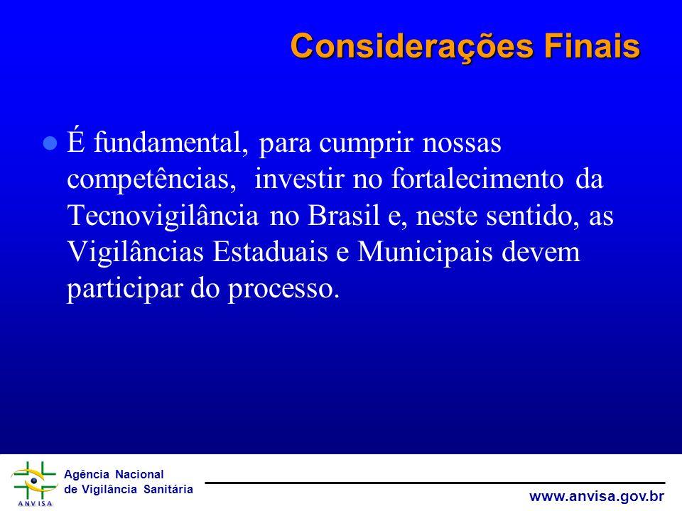Agência Nacional de Vigilância Sanitária www.anvisa.gov.br Considerações Finais É fundamental, para cumprir nossas competências, investir no fortaleci
