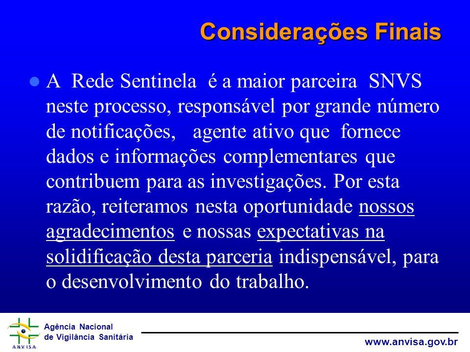 Agência Nacional de Vigilância Sanitária www.anvisa.gov.br Considerações Finais A Rede Sentinela é a maior parceira SNVS neste processo, responsável p