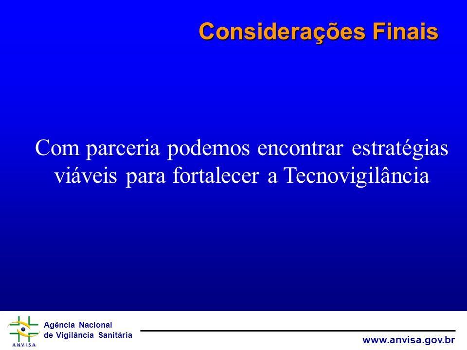 Agência Nacional de Vigilância Sanitária www.anvisa.gov.br Considerações Finais Com parceria podemos encontrar estratégias viáveis para fortalecer a T