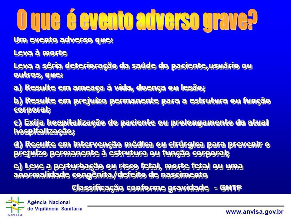Agência Nacional de Vigilância Sanitária www.anvisa.gov.br Um evento adverso que: Leva à morte Leva a séria deterioração da saúde do paciente,usuário