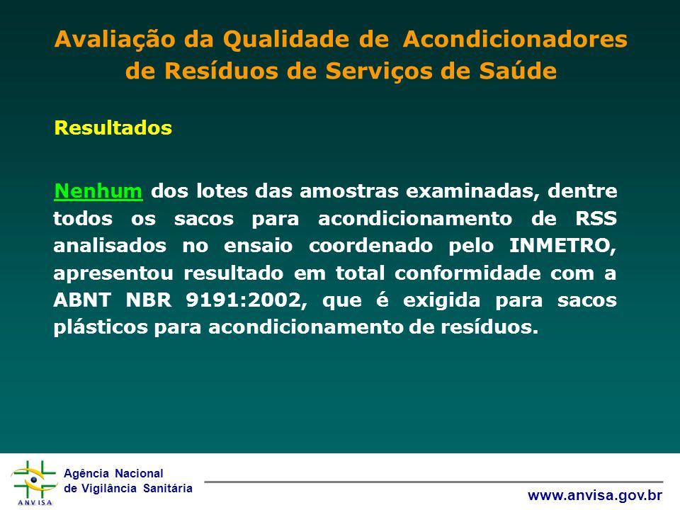 Agência Nacional de Vigilância Sanitária www.anvisa.gov.br Resultados Nenhum dos lotes das amostras examinadas, dentre todos os sacos para acondiciona