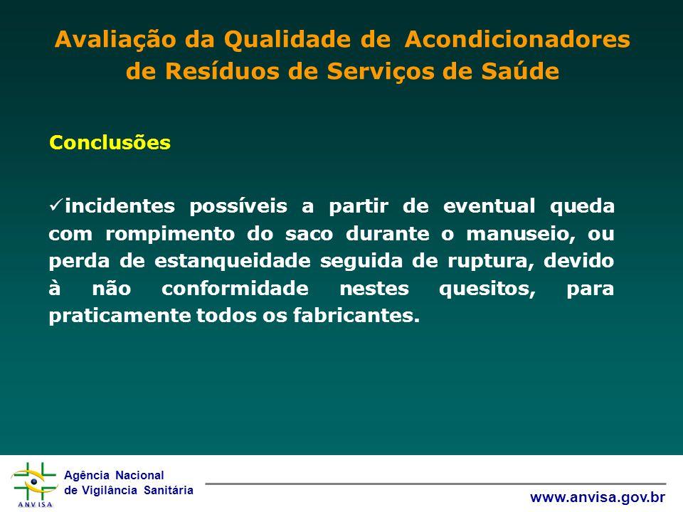 Agência Nacional de Vigilância Sanitária www.anvisa.gov.br Conclusões incidentes possíveis a partir de eventual queda com rompimento do saco durante o