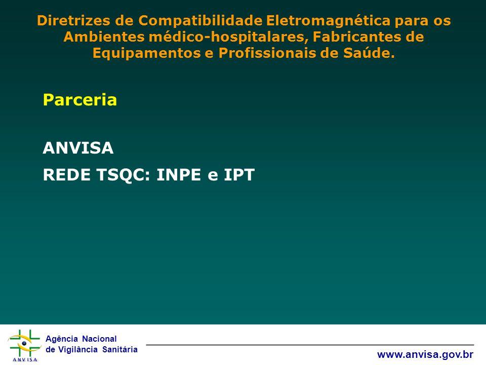 Agência Nacional de Vigilância Sanitária www.anvisa.gov.br Parceria ANVISA REDE TSQC: INPE e IPT Diretrizes de Compatibilidade Eletromagnética para os