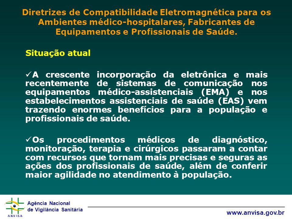 Agência Nacional de Vigilância Sanitária www.anvisa.gov.br Situação atual A crescente incorporação da eletrônica e mais recentemente de sistemas de co