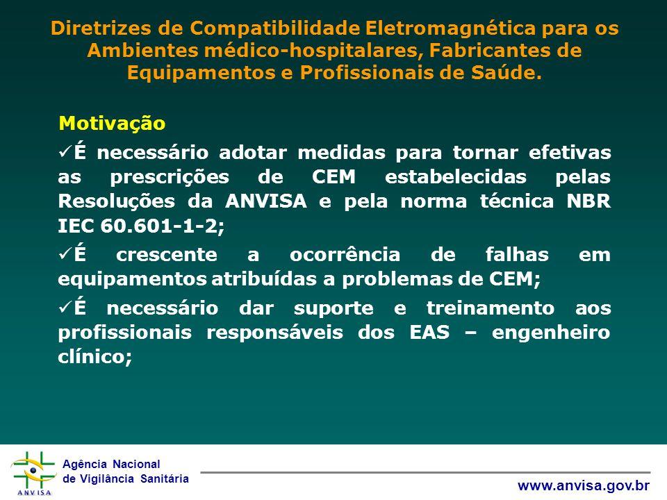 Agência Nacional de Vigilância Sanitária www.anvisa.gov.br Motivação É necessário adotar medidas para tornar efetivas as prescrições de CEM estabeleci