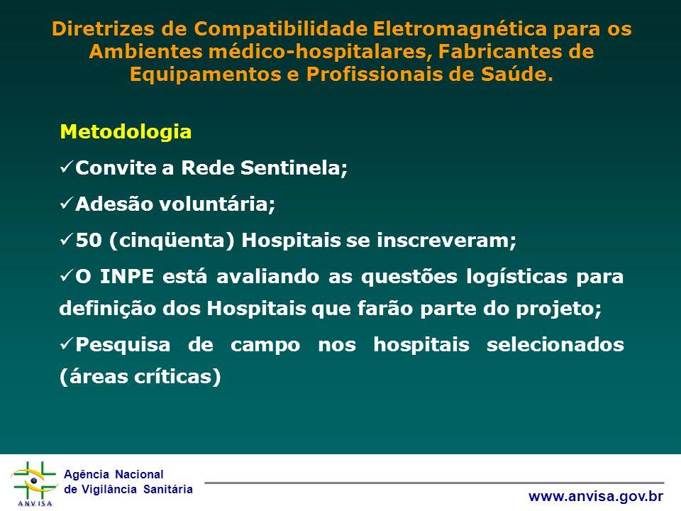 Agência Nacional de Vigilância Sanitária www.anvisa.gov.br Metodologia Convite a Rede Sentinela; Adesão voluntária; 50 (cinqüenta) Hospitais se inscre