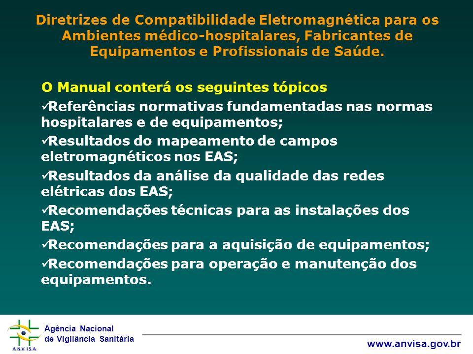 Agência Nacional de Vigilância Sanitária www.anvisa.gov.br O Manual conterá os seguintes tópicos Referências normativas fundamentadas nas normas hospi