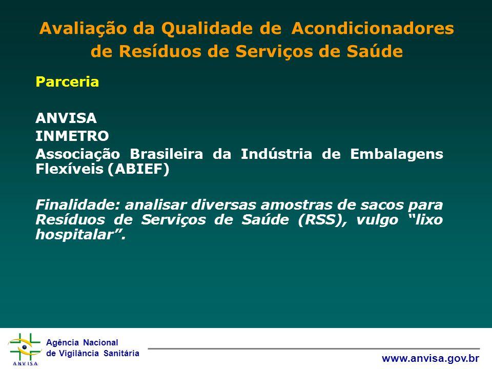 Agência Nacional de Vigilância Sanitária www.anvisa.gov.br Parceria ANVISA INMETRO Associação Brasileira da Indústria de Embalagens Flexíveis (ABIEF)