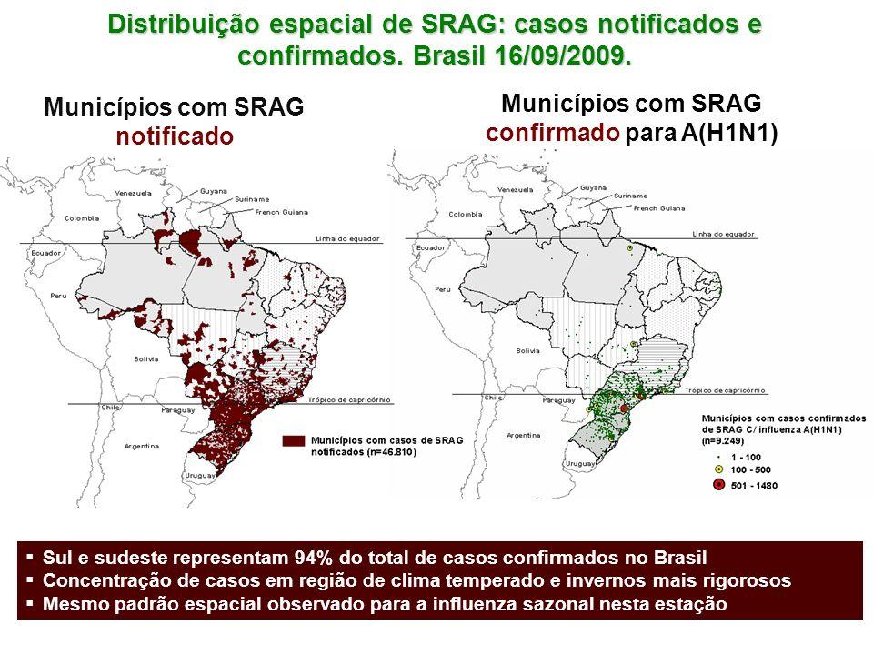 Distribuição espacial de SRAG: casos notificados e confirmados. Brasil 16/09/2009. Municípios com SRAG notificado Municípios com SRAG confirmado para