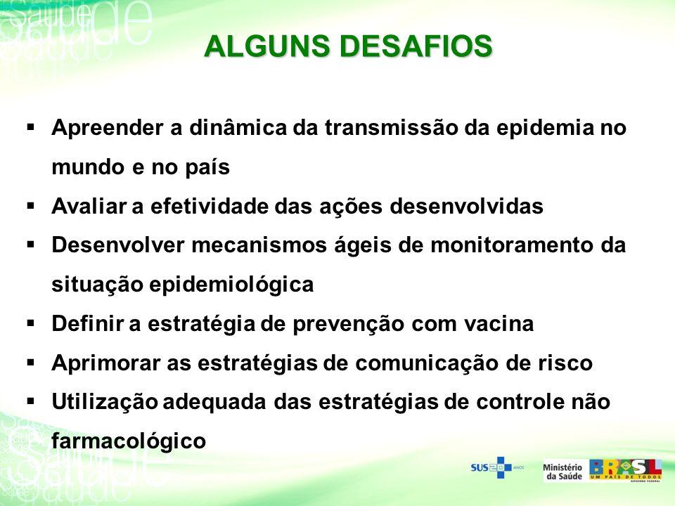 ALGUNS DESAFIOS Apreender a dinâmica da transmissão da epidemia no mundo e no país Avaliar a efetividade das ações desenvolvidas Desenvolver mecanismo