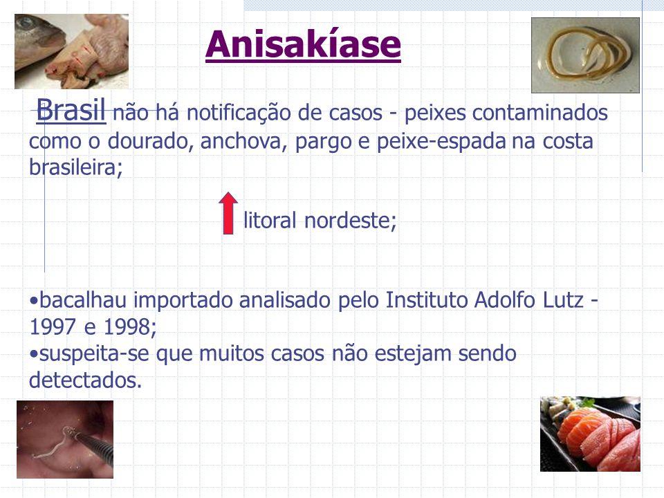 Brasil não há notificação de casos - peixes contaminados como o dourado, anchova, pargo e peixe-espada na costa brasileira; litoral nordeste; bacalhau
