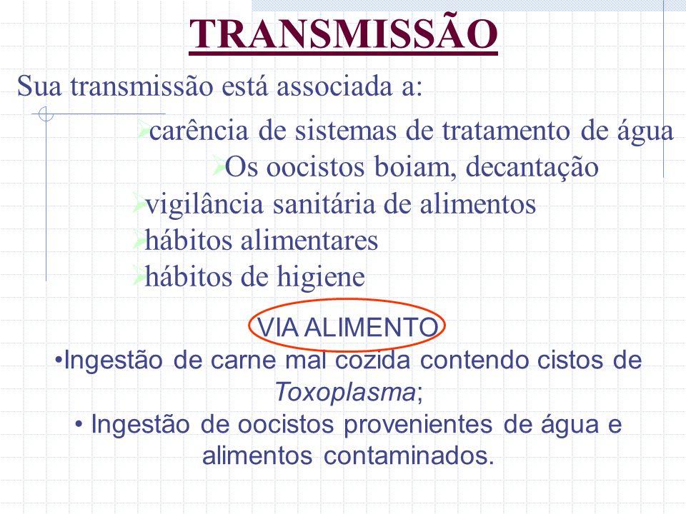 TRANSMISSÃO VIA ALIMENTO Ingestão de carne mal cozida contendo cistos de Toxoplasma; Ingestão de oocistos provenientes de água e alimentos contaminado