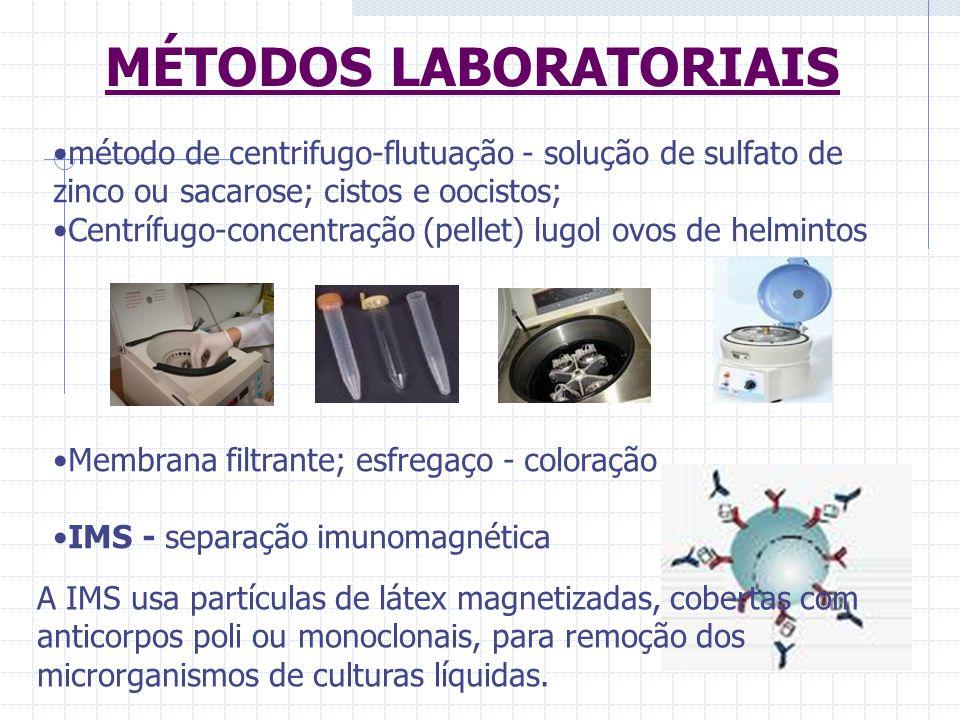 MÉTODOS LABORATORIAIS método de centrifugo-flutuação - solução de sulfato de zinco ou sacarose; cistos e oocistos; Centrífugo-concentração (pellet) lu