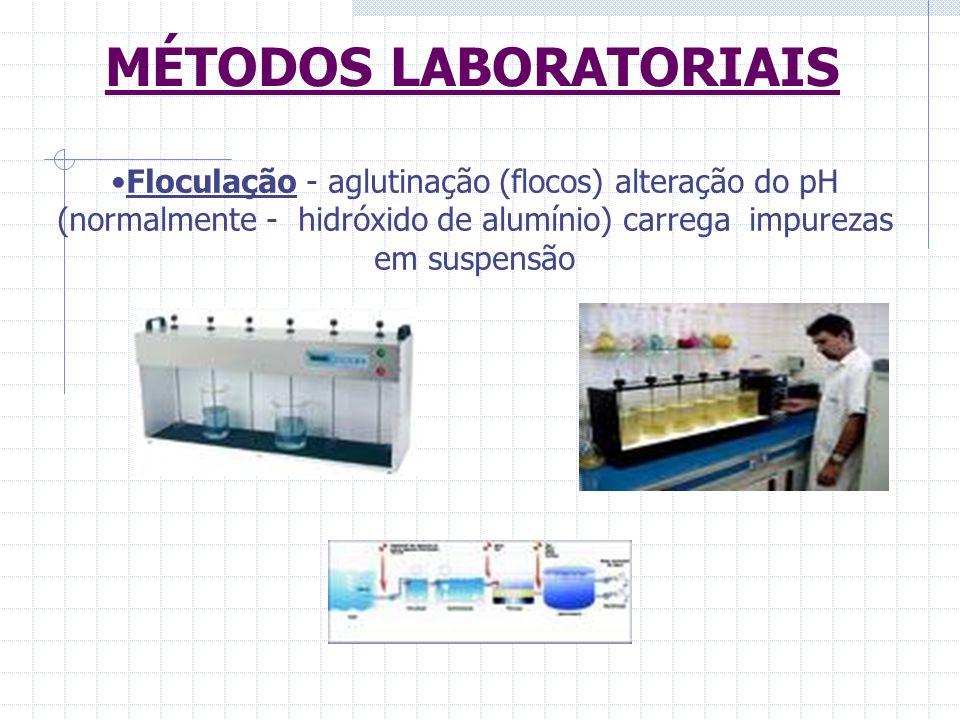 Floculação - aglutinação (flocos) alteração do pH (normalmente - hidróxido de alumínio) carrega impurezas em suspensão MÉTODOS LABORATORIAIS