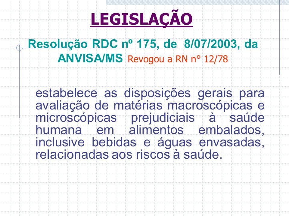 Resolução RDC nº 175, de 8/07/2003, da ANVISA/MS Revogou a RN n° 12/78 estabelece as disposições gerais para avaliação de matérias macroscópicas e mic