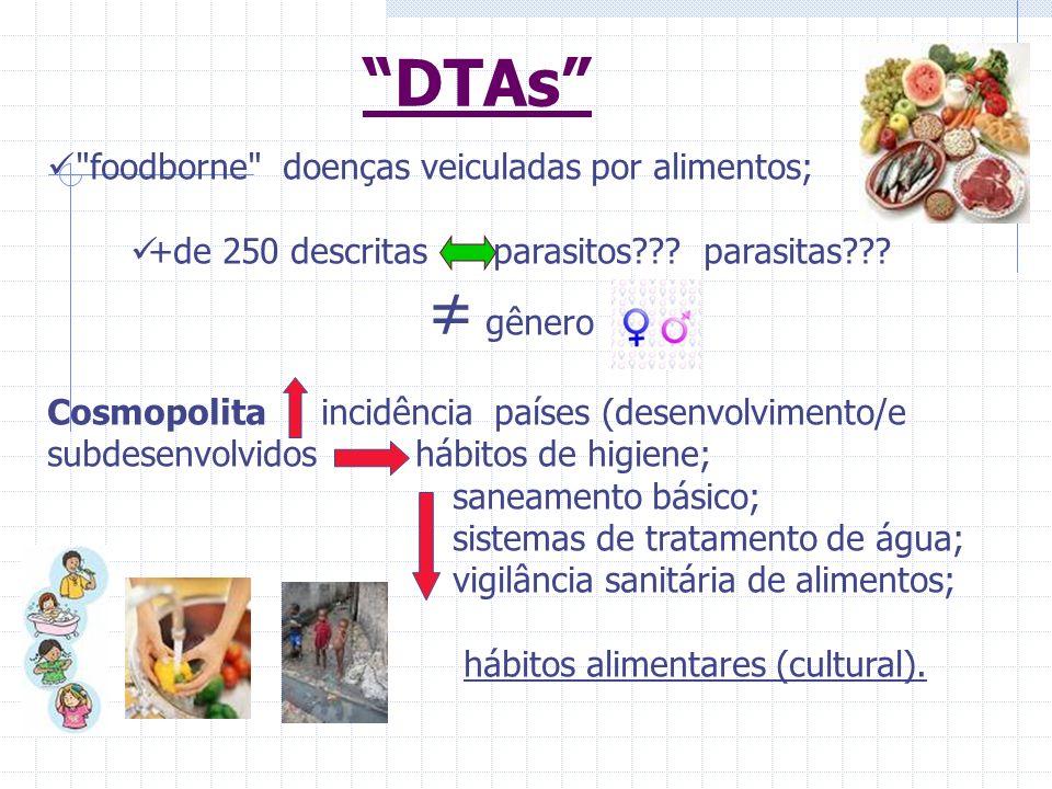 Alimentos vias de veiculação de parasitos Contaminação diversas etapas do processamento: Produção; Armazenamento; Conservação; Transporte; Comercialização Manipulação até o consumo final.