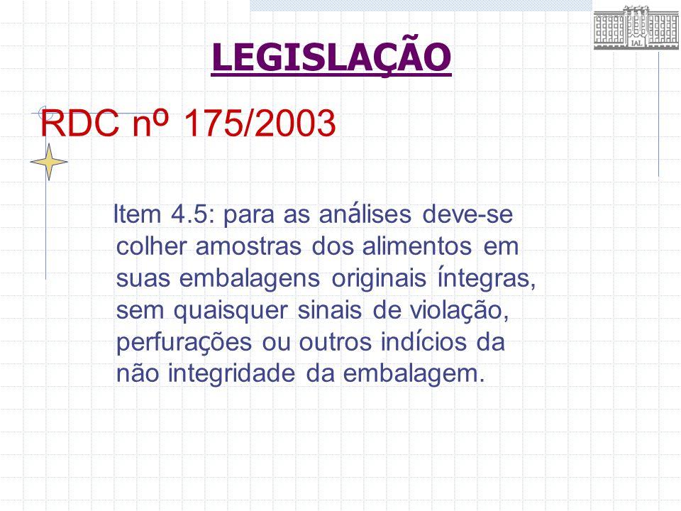 RDC n º 175/2003 Item 4.5: para as an á lises deve-se colher amostras dos alimentos em suas embalagens originais í ntegras, sem quaisquer sinais de vi
