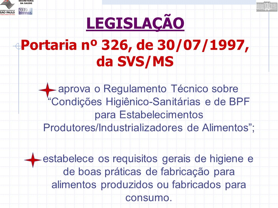 Portaria nº 326, de 30/07/1997, da SVS/MS aprova o Regulamento Técnico sobre Condições Higiênico-Sanitárias e de BPF para Estabelecimentos Produtores/