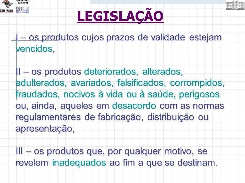 I – os produtos cujos prazos de validade estejam vencidos, II – os produtos deteriorados, alterados, adulterados, avariados, falsificados, corrompidos