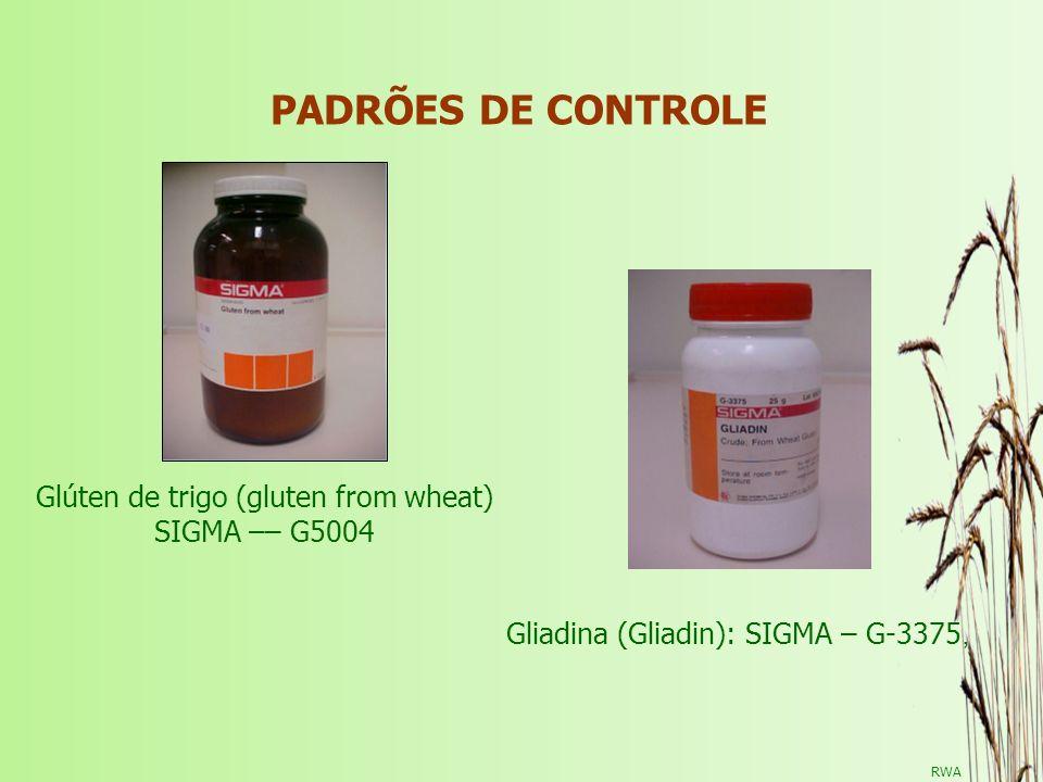 Glúten de trigo (gluten from wheat) SIGMA –– G5004 Gliadina (Gliadin): SIGMA – G-3375, PADRÕES DE CONTROLE RWA