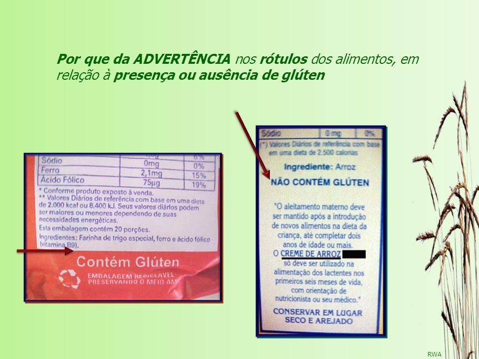 RWA Por que da ADVERTÊNCIA nos rótulos dos alimentos, em relação à presença ou ausência de glúten